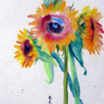 Deirdre-kennedy_Threesunflowers_Watercolor on Rice Paper_14x20