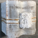 Megan Klim_Veiled #6_.Gauze, encaustic, wire_12 x12 x8