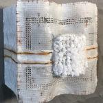 Megan Klim_Veiled #6_.Gauze, encaustic, wire_12 x12 x8
