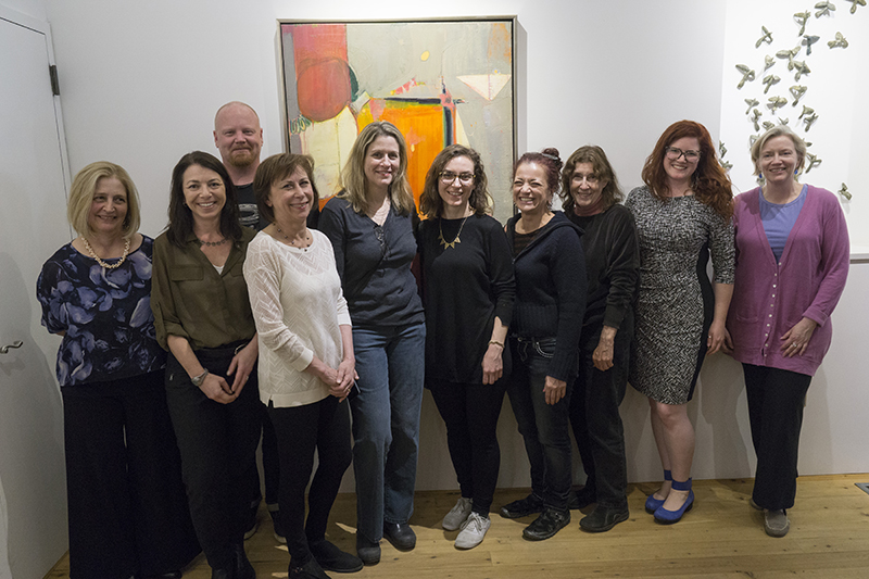 Curator's Choice Exhibition Village West Gallery May-June 2016 From left: Christine Barney,Linda Streicher ,Michael Endy,Winifred McNeill,Daryl-Ann Saunders,Kerry Kolenut, curator:Jeanne Brasile,President:Kay Kenny,curator:Katherine Murdock Gallerist:Robinson Holloway