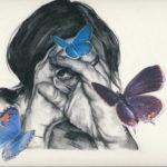 Janet_Tsakis_BlueButterfly_Charcoal_12'x15
