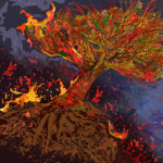 Howard_Berelson_Burning Tree_Computer Generated_ 32.75 x 34 on 40 x 40 Somerset Velvet