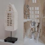 "'Ladder II' Handmade abaca paper, Xerox transfer of drawings, printed tissue and metal 24x7x6"""