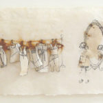"""'Reflection' #3 Handmade abaca paper, Xerox transfer of drawings, printed tissue, thread and pins. 10x22"""""""
