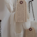 """'Invisible' (detail) Handmade abaca paper, chain, thread, shipping labels and pencil. 46x50x4"""""""