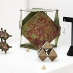"Back:Hinged Truncated Cube Patina, Copper &Brass 6x6x6 Center:""Capped"" Cuboctohedron Bronze & Brass 3.5x3.5x3.5 Right:Dipyramid Earrings Sterling Silver Left:Extensile Modular Square Dipyramid Bronze and Brass 4x4x4"