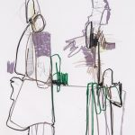 """Connector, 2014 Experimentation Collaboration, Josh Paris, bass oil stick, pencil and charcoal on paper 68x38"""""""