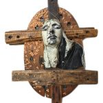 "Angelic 28x44"" Medium: Ceramic RAKU, wood, dried flowers and wire"