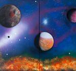 """Planetary Panorama"", 4 24""x36"" panels (92""x36"" total), spray enamels, 2015"