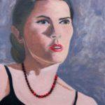 """Katreena"", 24""x30"", oils/beads, 2014"