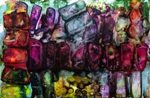 """""""Breakthrough"""" 23"""" X 35"""" (24"""" x 36"""" – Framed), Mixed Media: Alcohol Ink, Metallic Pigment and Halo Glitter on Yupo Paper, 2017"""