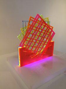 """Grid"" 2014 14 x 14 x 14 inches Lasercut Acrylic, led lights"