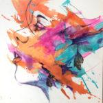 Letting go #2, Acrylics, inks on canvas, 20x20
