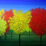 RAJENDRA MEHTA, Autumn. Acrylic on canvas, 36x48x1.5 inches