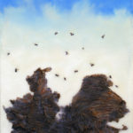 Arthur_Paxton_BUZZ_24x20in_found bees, hornet-nest paper and encaustic medium_2016