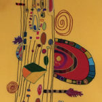 Geri_Hahn_The Colors of a 2 String Guitar_Embroidered Silk Fiber Art_34x48 inches