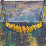 Judy_Wukitsch_Immigration, a river of people_enamel, paint, collage, on clayboard_6_x12_ total
