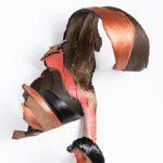 "Suzan_Globus_FALCON_Acrylic,metallic on bark,12"" x 11"" x 9.25"""