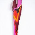Suzan_Globus_FIREBIRD_acrylic, gold leaf on bark_26X5X2.5