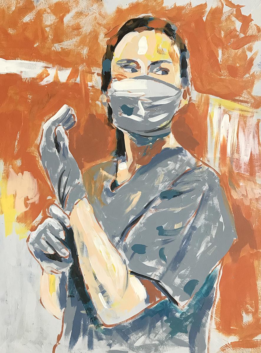 Federico__Warrior__latex on canvas_29x38.5