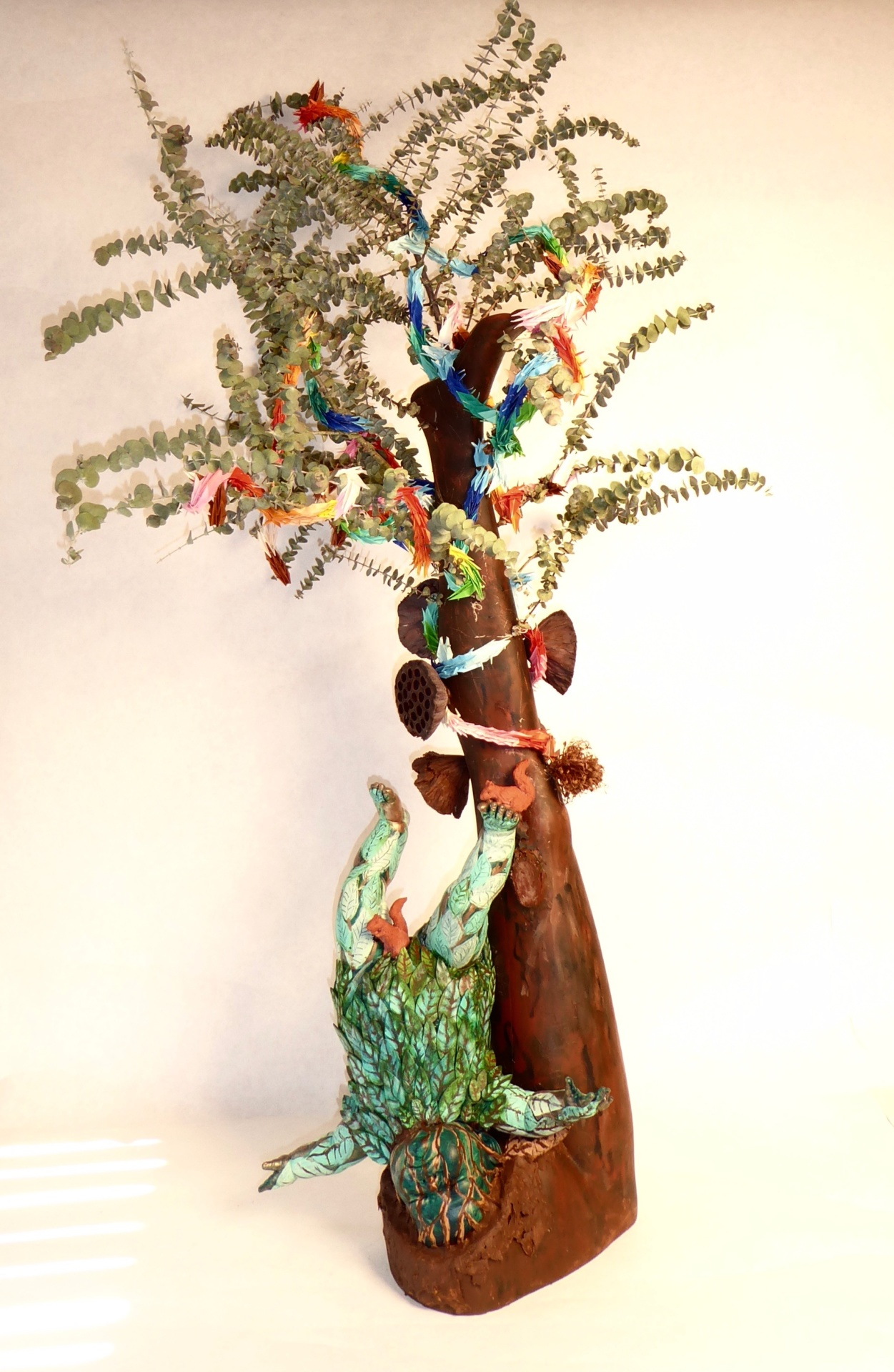 "Gale Sasson ""Tree of Life"" Mixed media Ht: 57"", W: 30"", D: 27"" $1000"